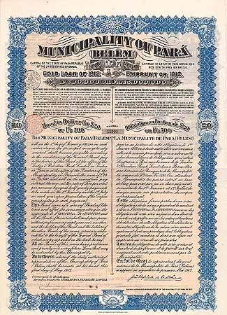 Municipality of Pará (Belem) 5 % Gold Loan of 1912
