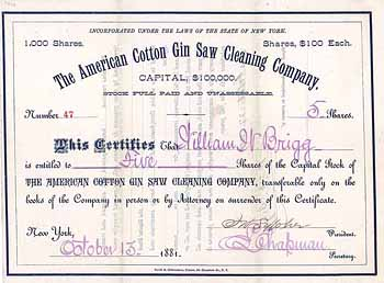 American Cotton Gin Saw Cleaning Co.