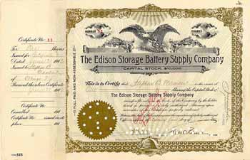 Edison Storage Battery Supply Co. (OU Thomas A. Edison)