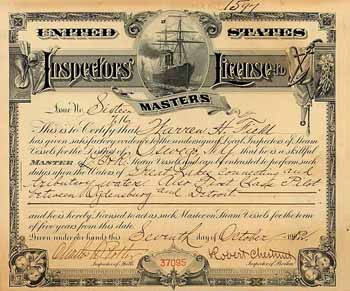 United States Inspectors' License to Masters