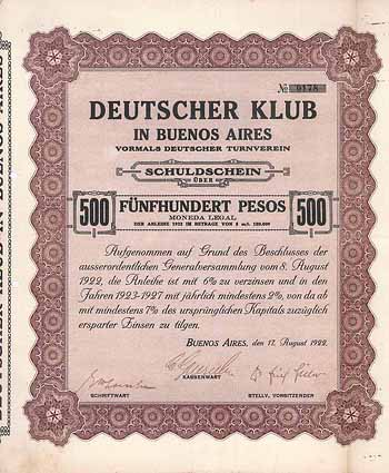 Deutscher Klub in Buenos Aires vormals Deutscher Turnverein