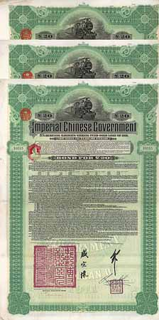 Imperial Chinese Government 5 % Hukuang Railways Gold Loan (99 Stücke)