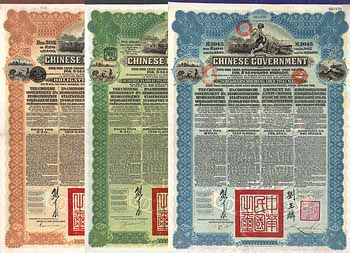 Chinese Government 5 % Reorganisation Gold Loan of 1913 (16 Stücke)