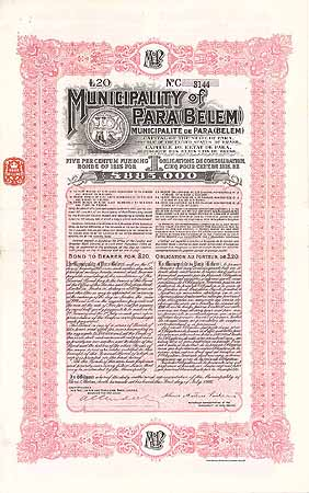 Municipality of Pará (Belem) 5 % Funding Bonds of 1915