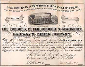 Cobourg, Peterborough & Marmora Railway & Mining Co.