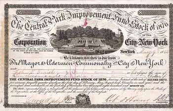 Central Park Improvement Fund Stock of 1876, City of New York
