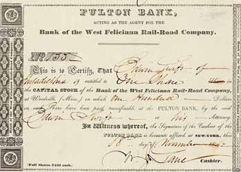 Bank of the West Feliciana Rail-Road Company (Fulton Bank acting as agent)